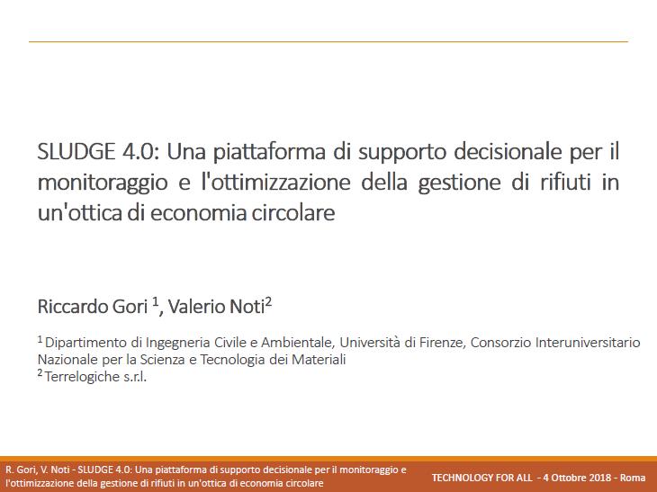 SLUDGE 4.0: Una piattaforma di supporto decisionale per il monitoraggio e l'ottimizzazione della gestione di rifiuti in un'ottica di economia circolare