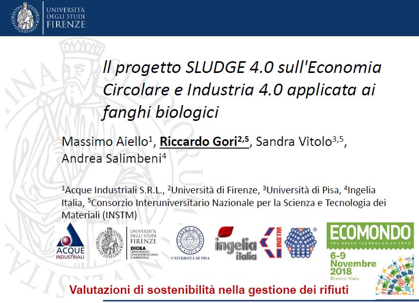 Il progetto SLUDGE 4.0 sull'Economia Circolare e Industria 4.0 applicata ai fanghi biologici